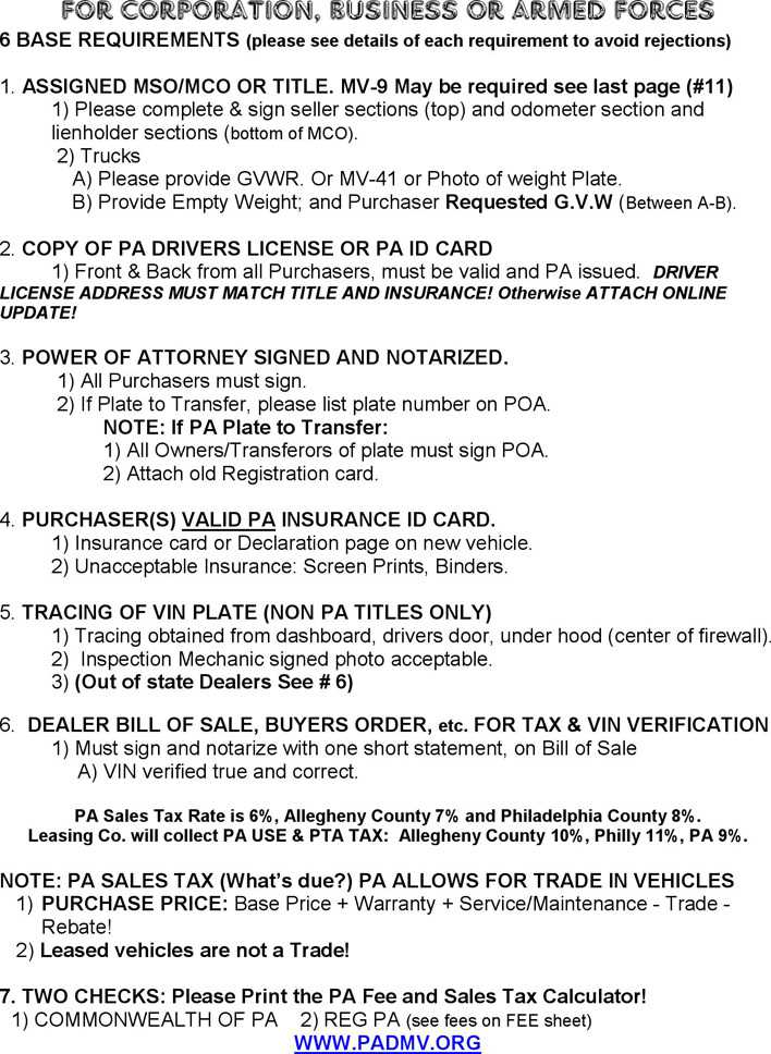 Download Pennsylvania Motor Vehicle Power of Attorney Form