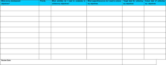 Download Personal Development Plan Word Template Free Download For