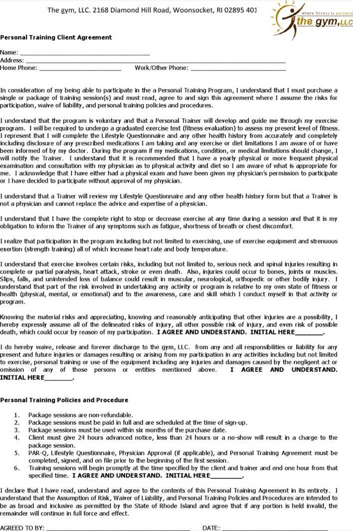 Download Personal Trainer Contract With Gym Template Form Download