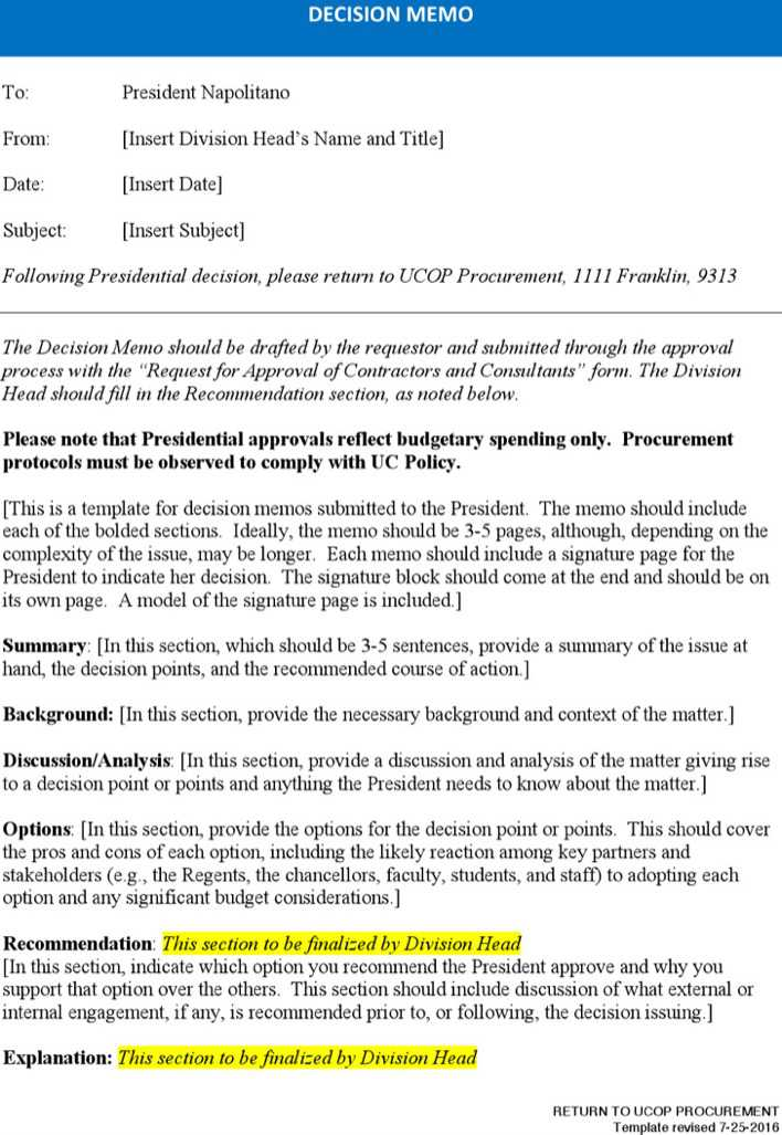 download policy decision memo template word for free tidytemplates