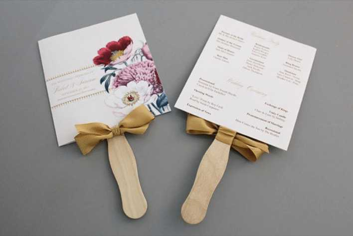 Pretty Blooms Wedding Program Paddle Fan from Sweet Violet Bride Page 1