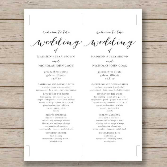 Print Ready Wedding Program Template Download Page 1