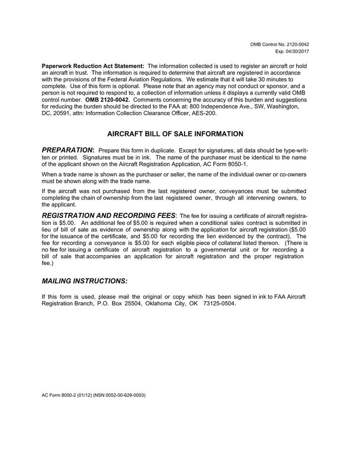 download printable aircraft bill of sale form download for
