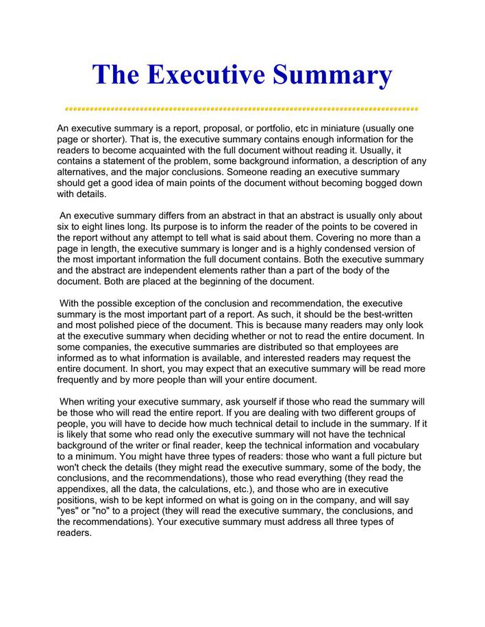 download printable best executive summary ever doc