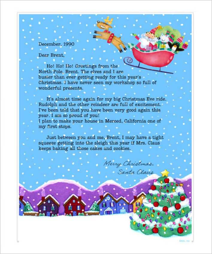 Printable Christmas Stationery Letter From Santa Online Page 1