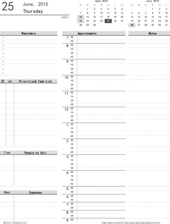 Download Printable Daily Planner For Free TidyTemplates