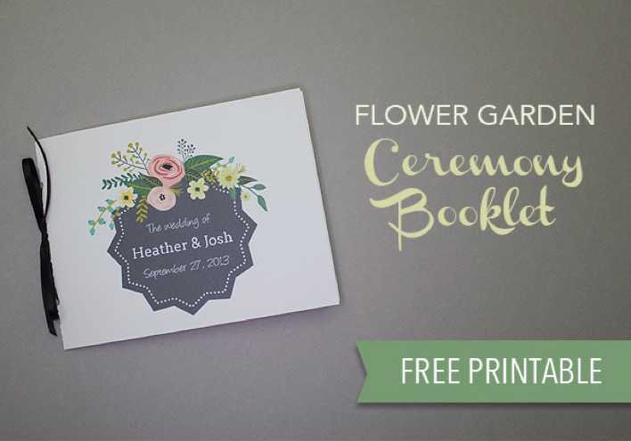 Printable Flower Garden Wedding Program Page 1