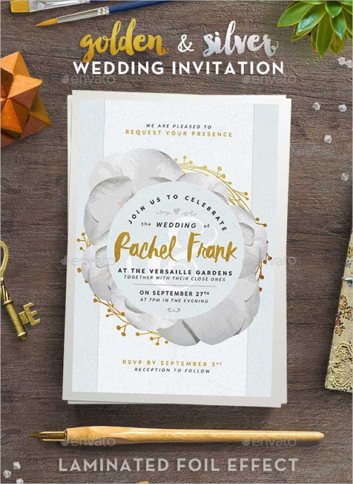 Printable Golden and Silver Wedding Invitation to Print Page 1