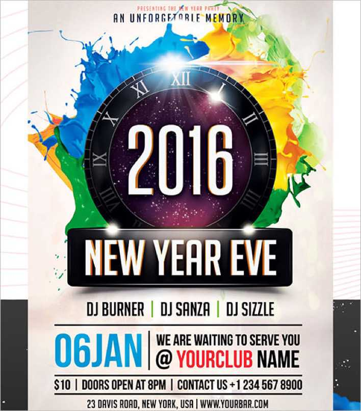 Printable New Year Party Flyer 2016 for Clubs Page 1