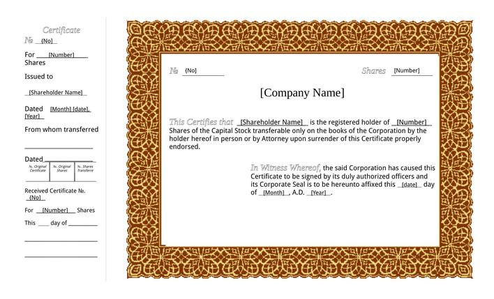 download printable stock certificate template pdf for free tidytemplates. Black Bedroom Furniture Sets. Home Design Ideas