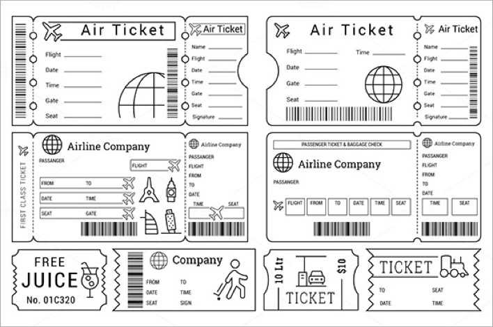 Printable Ticket Templates for Cinema, Zoopark, Airline Page 1