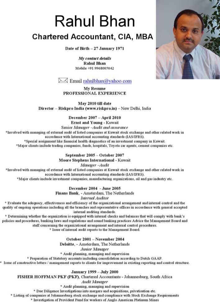 download professional charted accountant resume for free