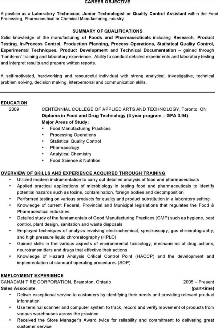 Download Professional Lab Technician Resume Templates For