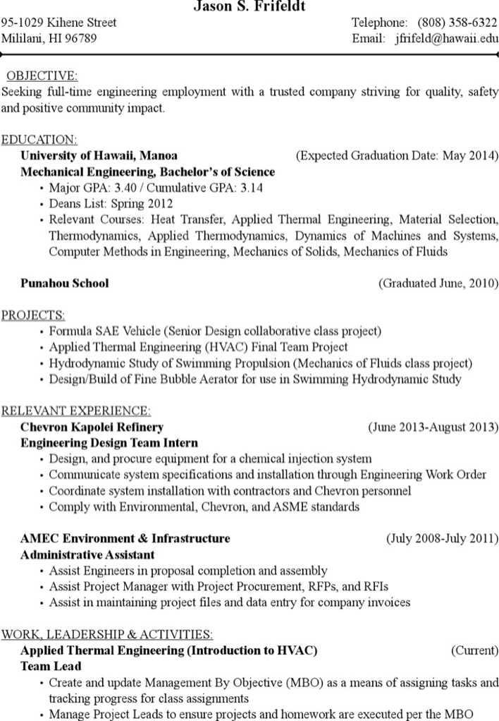 Download Project Engineer Hvac Resume Free Pdf Template for Free