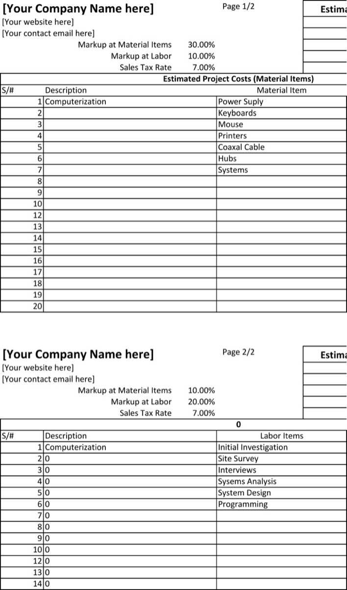 download project estimate spreadsheet template excel free editable