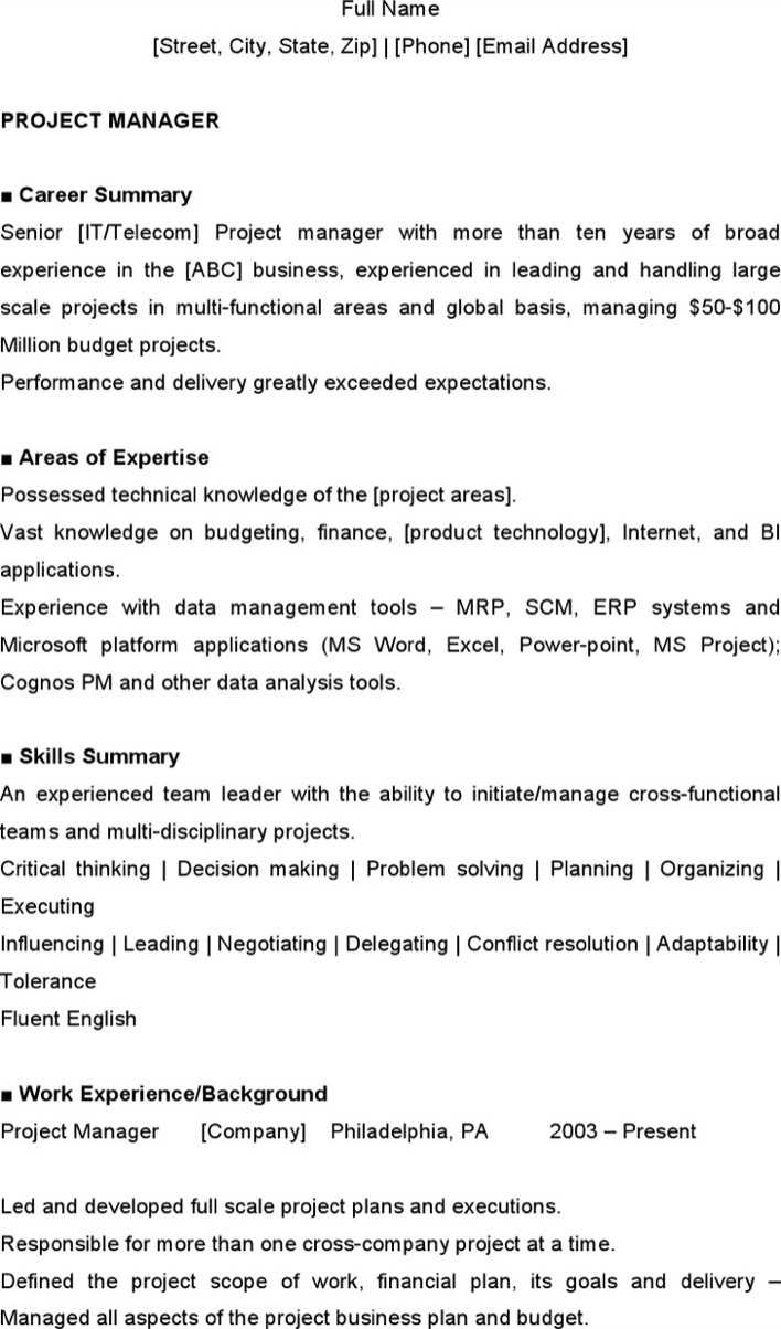 Download Project Management Resume Sample For Free