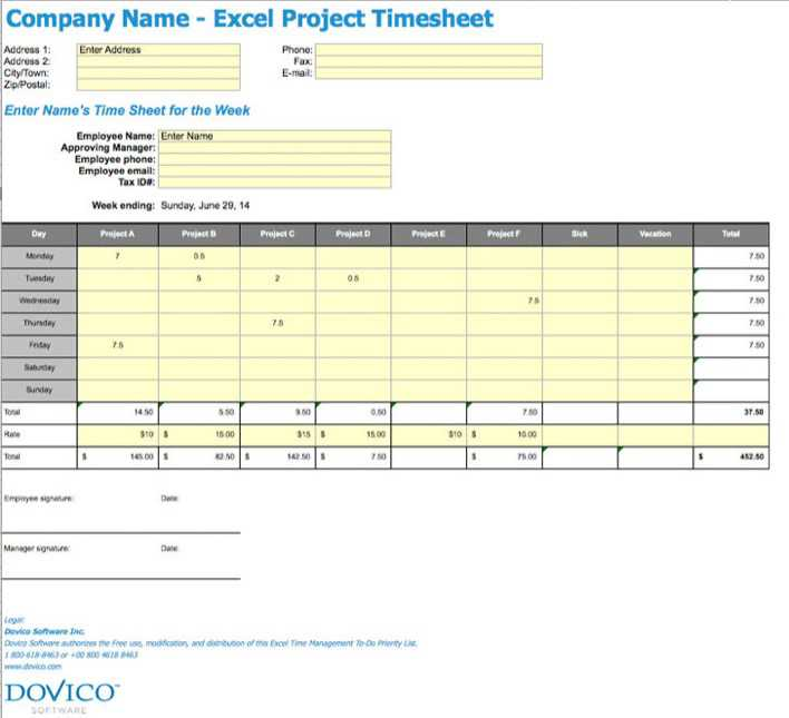 Download Project Timesheet Template For Free Tidytemplates