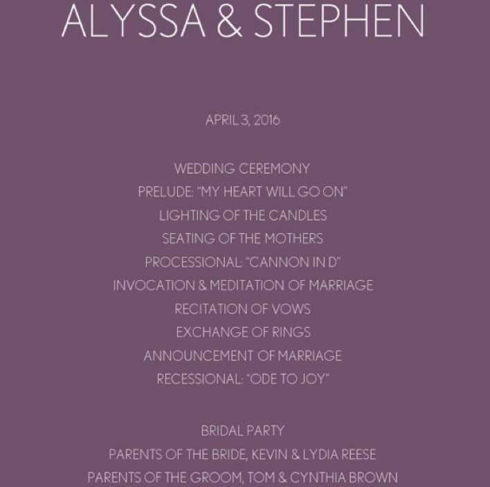 Purple Chevron Wedding Program Template Online Editable Page 1