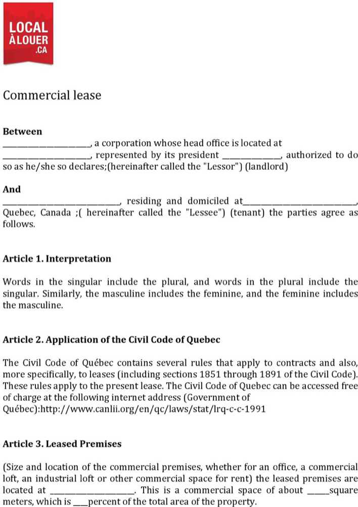 Download Quebec Commercial Lease Agreement Form For Free Tidytemplates