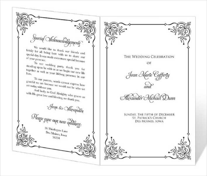 Ready To Print Wedding Program Template Download Page 1