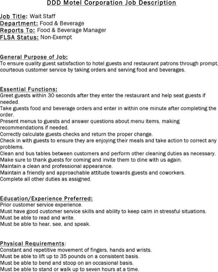 download restaurant job description template for free tidytemplates
