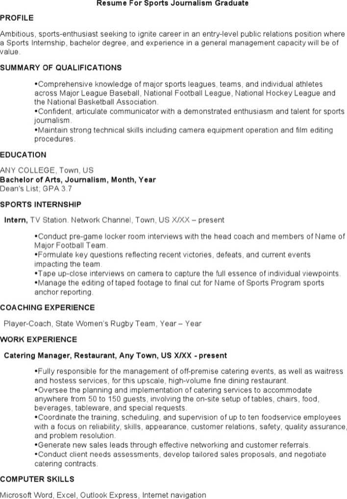 download resume for sports journalism graduate for free