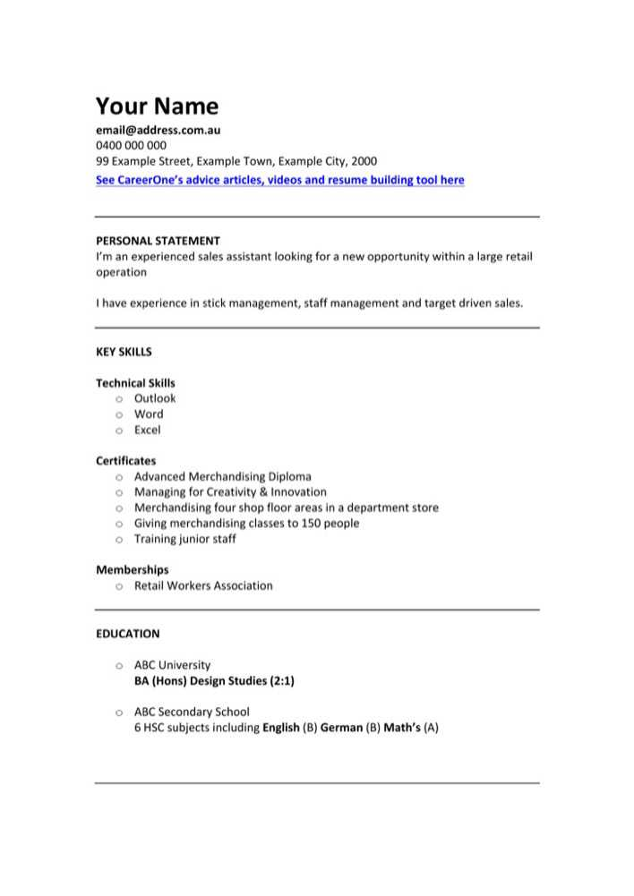 download retail sales assistant cv template for free