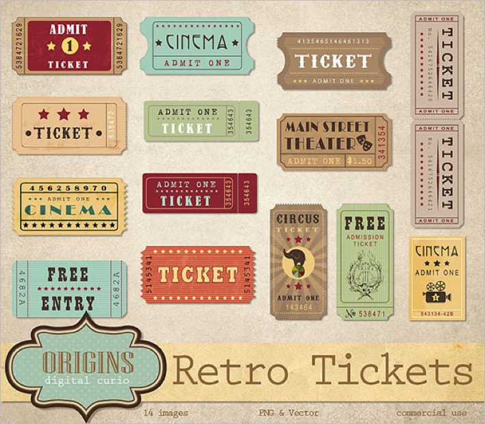 Retro Ticket Designs for Movie, Event Page 1