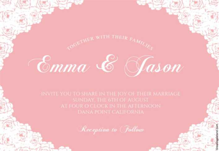 Rose Lace Corners - Printable Wedding Invitation Template Download Page 1