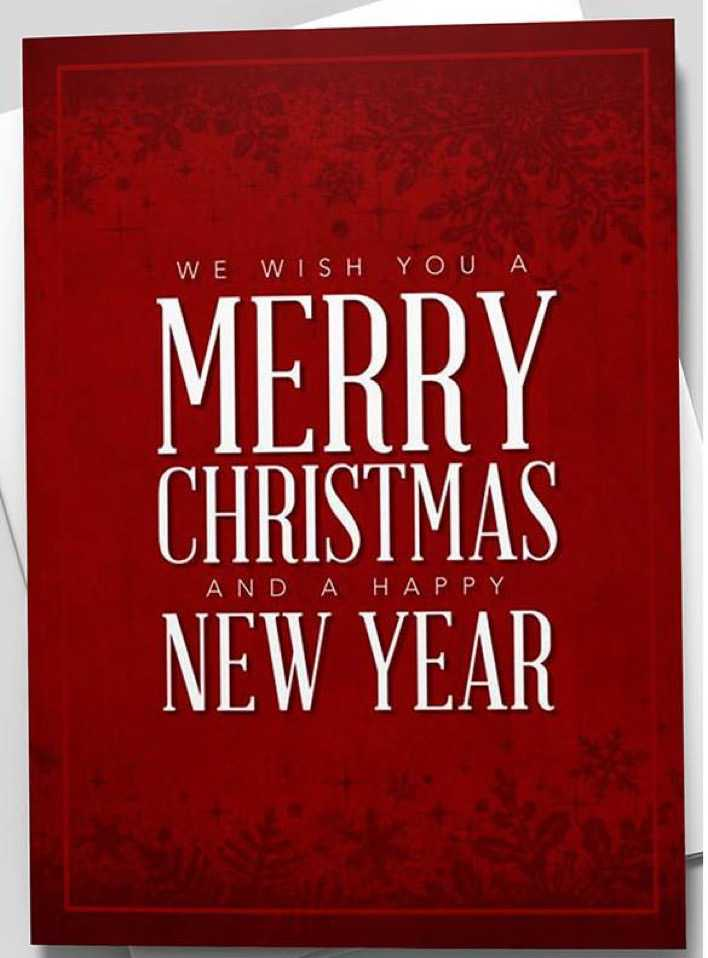 Ruby Merry Christmas & Happy New Year Greeting Card Page 1