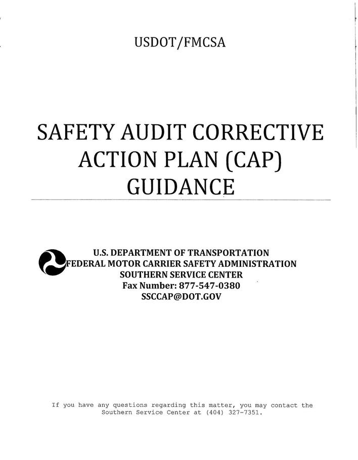Safety Corrective Action Plan Template Page 1