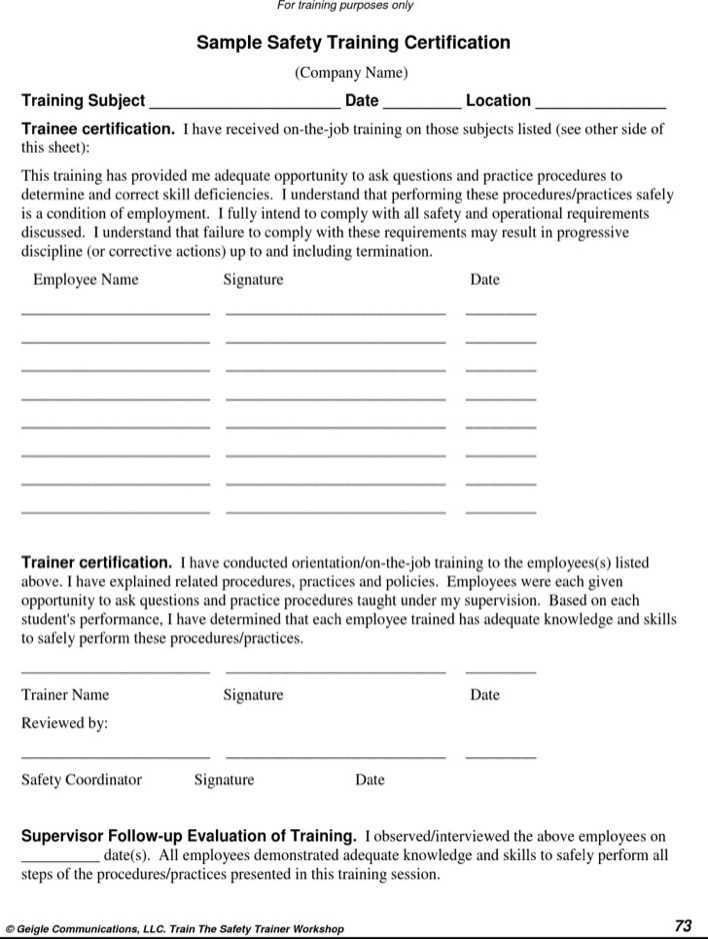 Download Safety Training Certificate Template For Free Tidytemplates