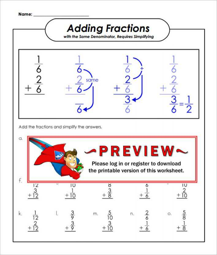 download same denominator adding fractions worksheet template for  same denominator adding fractions worksheet template page