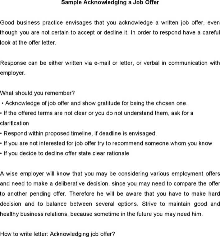 Download Sample Acknowledging A Job Offer for Free