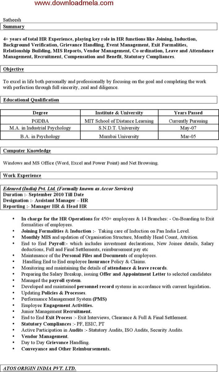 download sample assistant manager hr resume for free