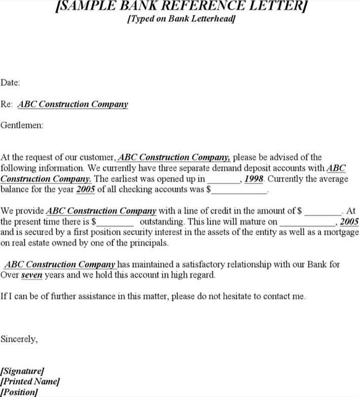 Download Sample Bank Reference Letter For Free
