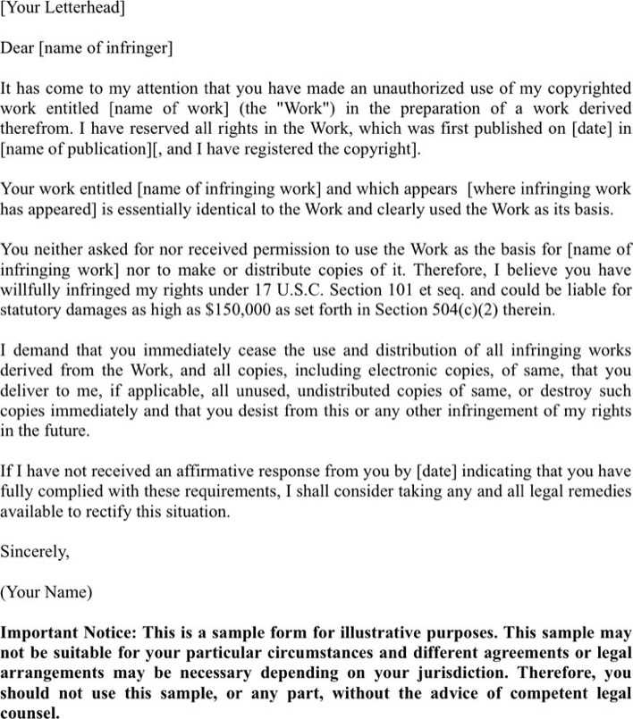 sample cease and desist letter page 1