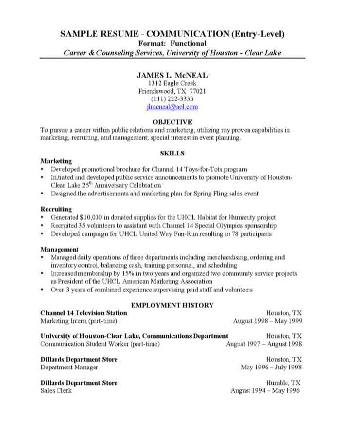 download sample communicstion entry level resume for free
