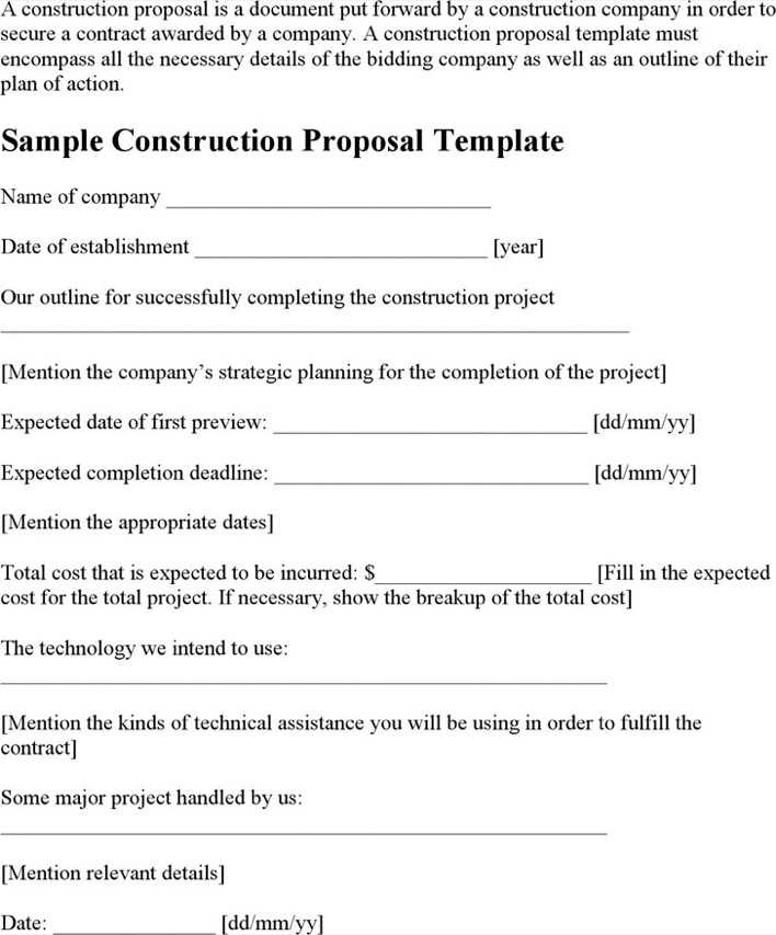 download sample construction proposal template for free tidytemplates