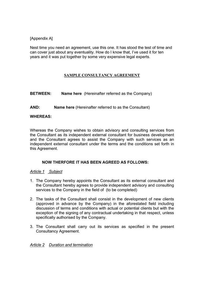 Download Sample Consulting Agreement Contract Pdf For Free