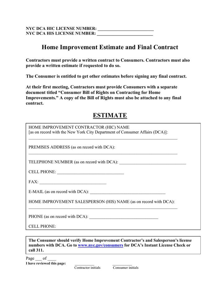Download Sample Contractor Estimate Template Pdf Download For Free