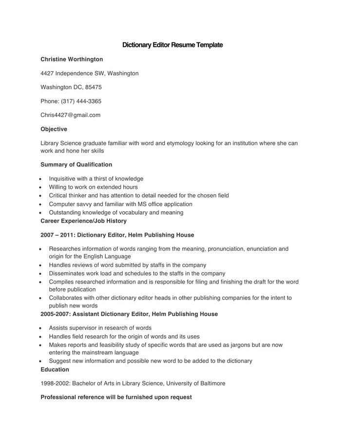 Download Sample Dictionary Editor Resume Template for Free