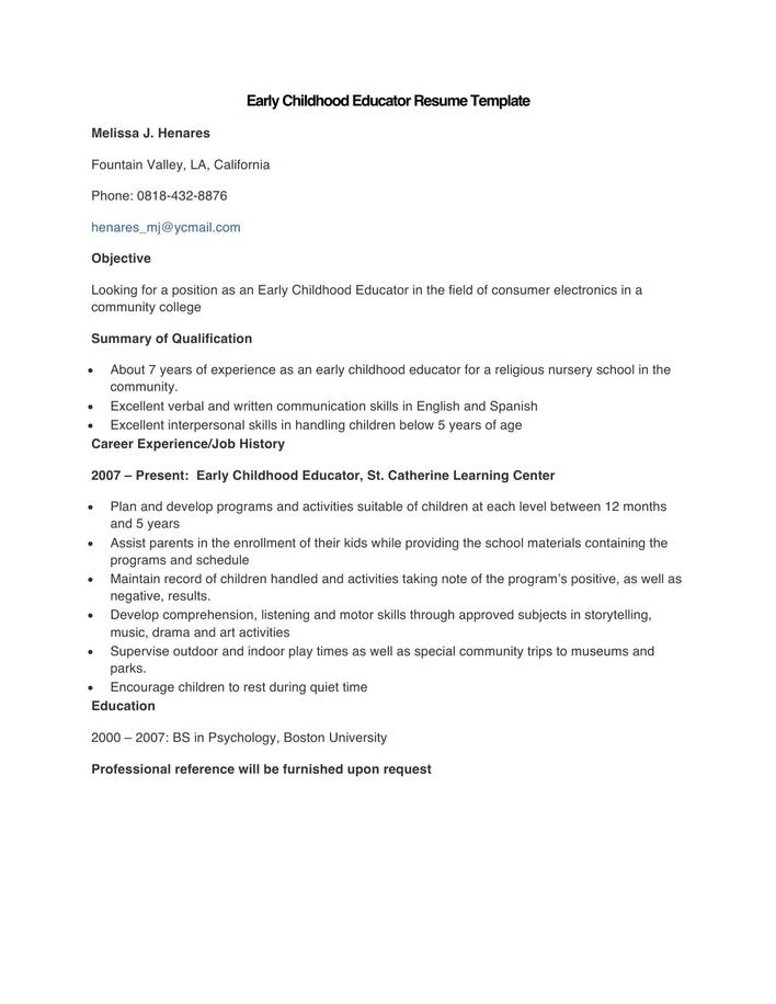 Download Sample Early Childhood Educator Resume Template For Free