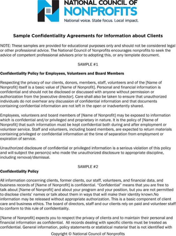 Download Sample Generic Client Confidentiality Agreement For