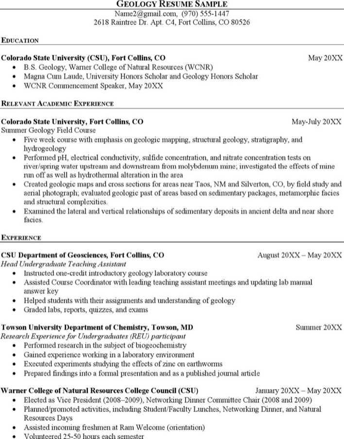 Sample Geologist Resume Page 1