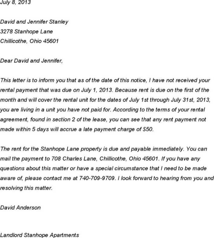 notice of late rent template