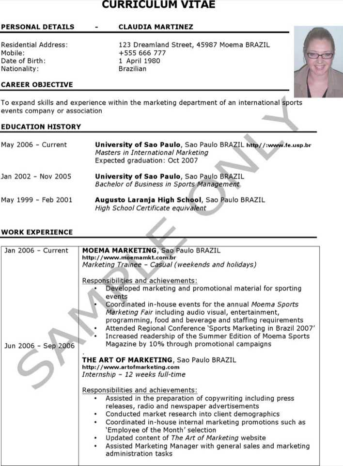 download sample parse resume for free