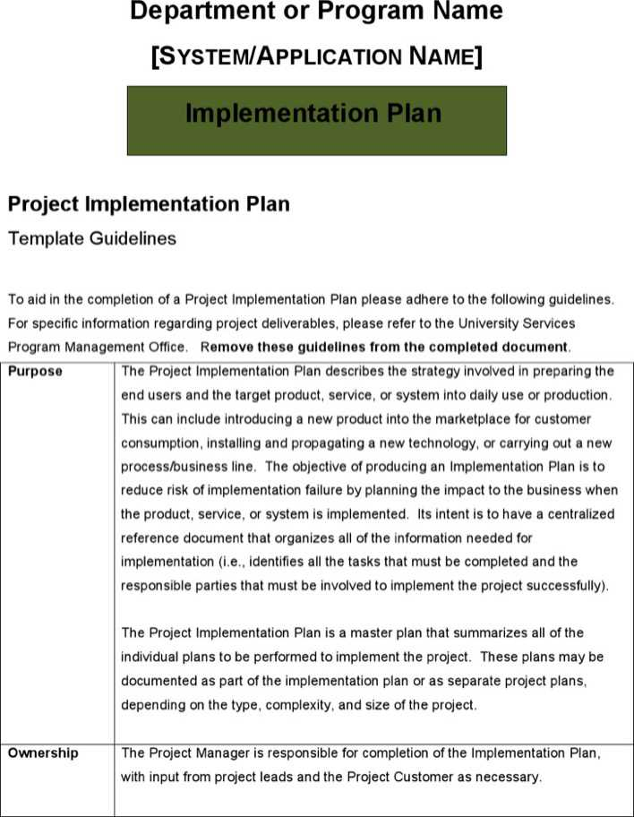 download sample project implementation plan template for free