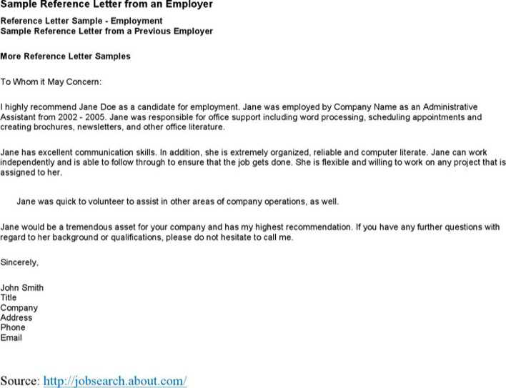Sample Reference Letter from an Employer Page 1