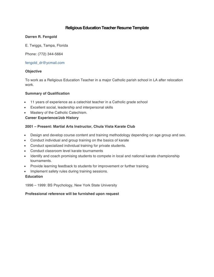 Download Sample Religious Education Teacher Resume Template for Free ...